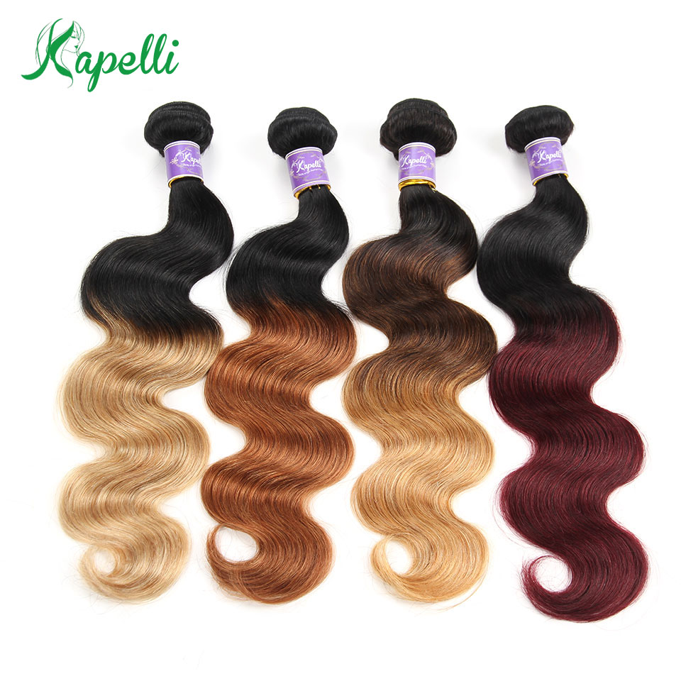 Ombre Human Hair Bundles Body Wave Ombre Brazilian Hair Bundles Ombre Remy Human Hair Weave 1 Piece 10-26inch Can Mix Any Length