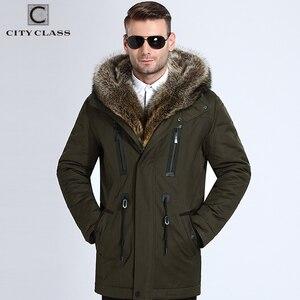 Image 1 - 市クラス毛皮の冬のジャケットメンズスーパー暖かいパーカーラクダ毛充填アライグマフードビッグ毛皮の冬のコート厚みパーカー 839