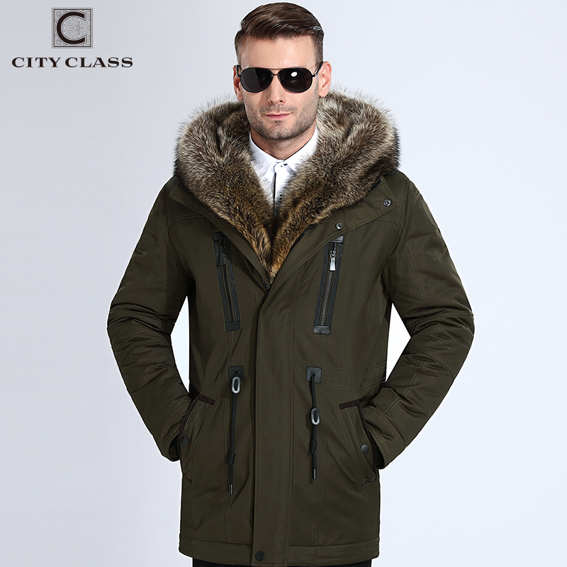 Chaqueta de invierno de piel de clase de ciudad para hombre abrigo de invierno de piel de mapache parka 839