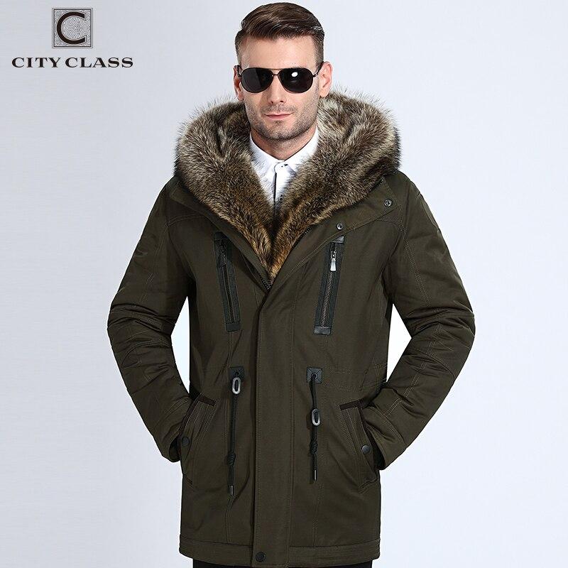 La ciudad de clase de piel chaquetas de invierno para hombre, Super caliente Parkas pelo de camello relleno con mapache capucha grande de piel de abrigo de invierno espesar parka 839