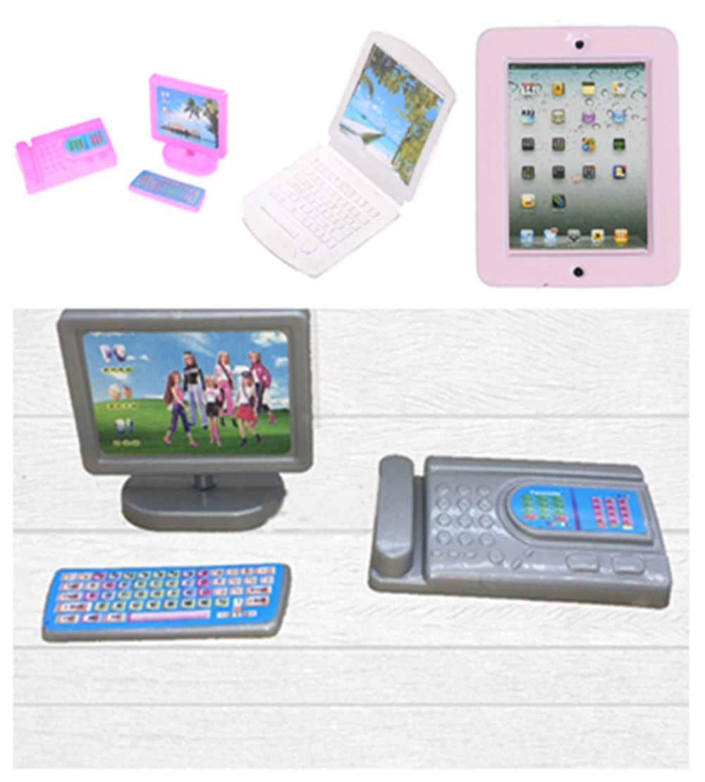 Dollhouse Miniature Modern Computer Furniture For Children Toy Furniture For Dolls Laptop Computer Random Color Creative Gift
