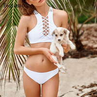 Black High Neck Bikini Swimwear 2018 Women Bandage Hollow Swimsuit Brazilian Bikini Set White Cropped Bikinis