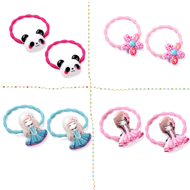 M MISM 2PCS Flower Panda Princess Cute Lovely Elastic Hair Bands Hair Accessories Rubber Band Scrunchy for Kids Girls m mism classic nonwoven flower for kids hairgrip girls children cute hairpins hair accessories head wear hair clips