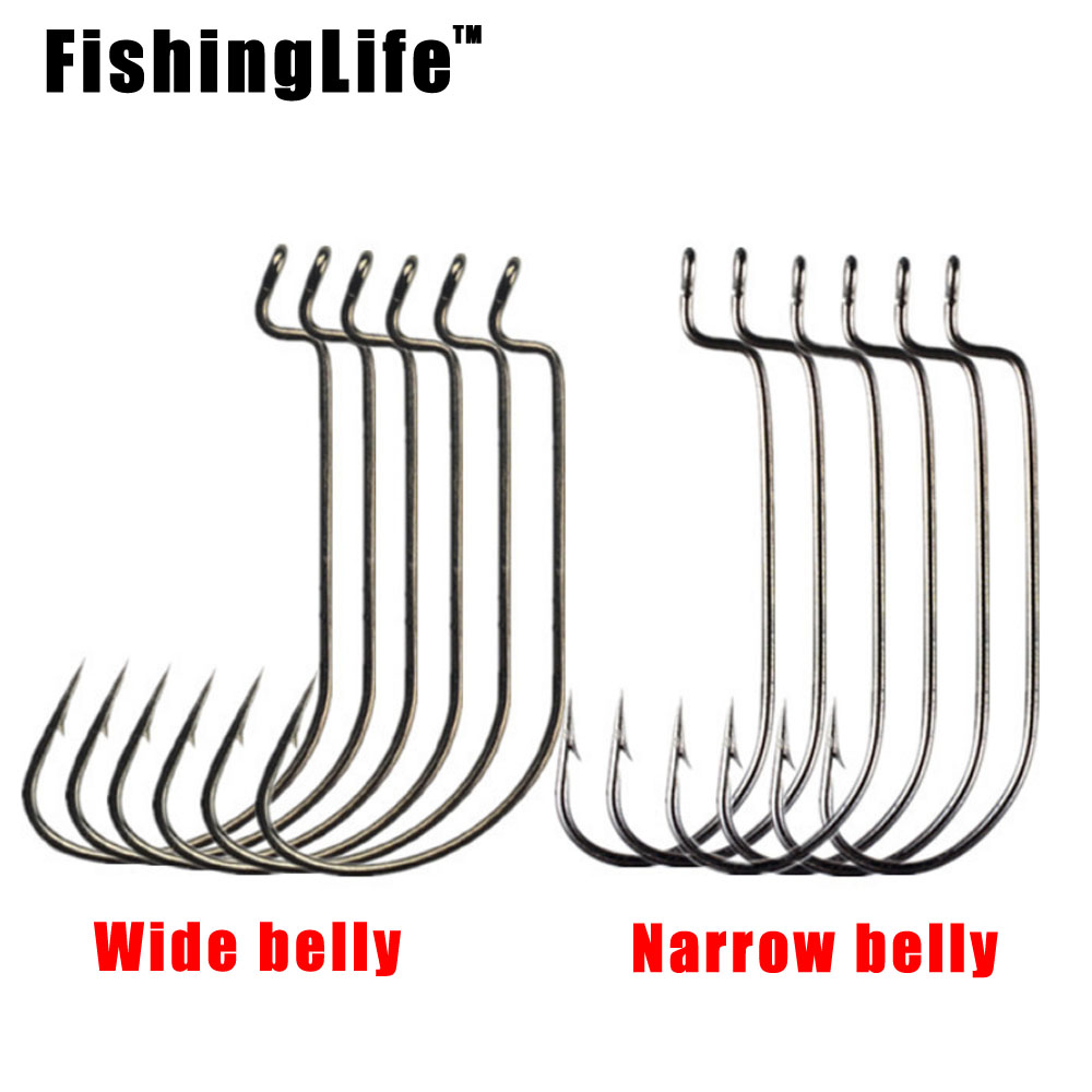 FishingLife 20pcs Fishing Gear Soft Bug High Steel Carbon Bass Barbed Fishing Offset Hooks Wide Crank 5/0#-1# Wide Gap Hook
