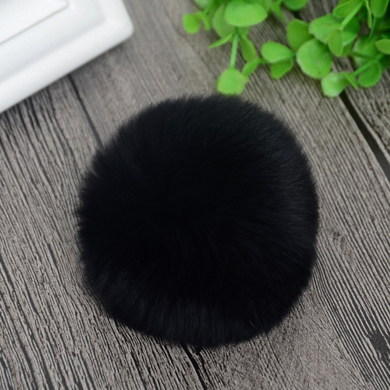8cm Nature Genuine Rex Rabbit Fur Ball Pom Pom Fluffy DIY Winter Hat   Skullies     Beanies   Knitted Cap Pompoms F001-black