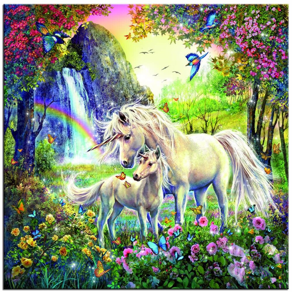 Handmade cross stitch decor home Crafts Two horses picturefull diamond mosaic Diy 5d diamondpainting embroidery