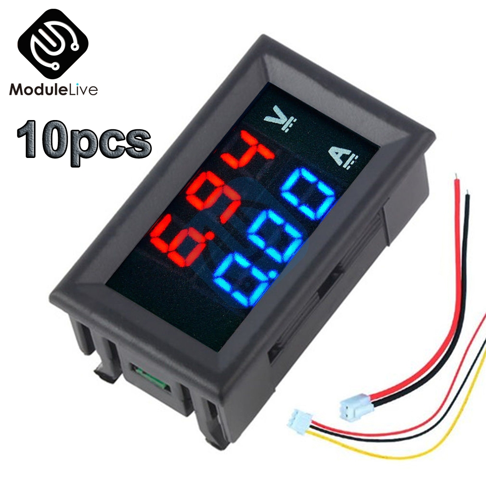 <font><b>10PCS</b></font> Mini Digital <font><b>Voltmeter</b></font> Ammeter DC 100V 10A Panel Current Voltage Meter Tester 0.28