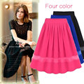 2016 New Woman Brand Skirt Chiffon Patchwork Solid High Waist Skirts Womens Summer Pleated Skirt High Quality 4 Colors