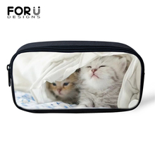 FORUDESIGNS Baby Cats Prints Cosmetic Bags Lady Make Up Travel Kawaii Pattern Girls Pen Children Pencil