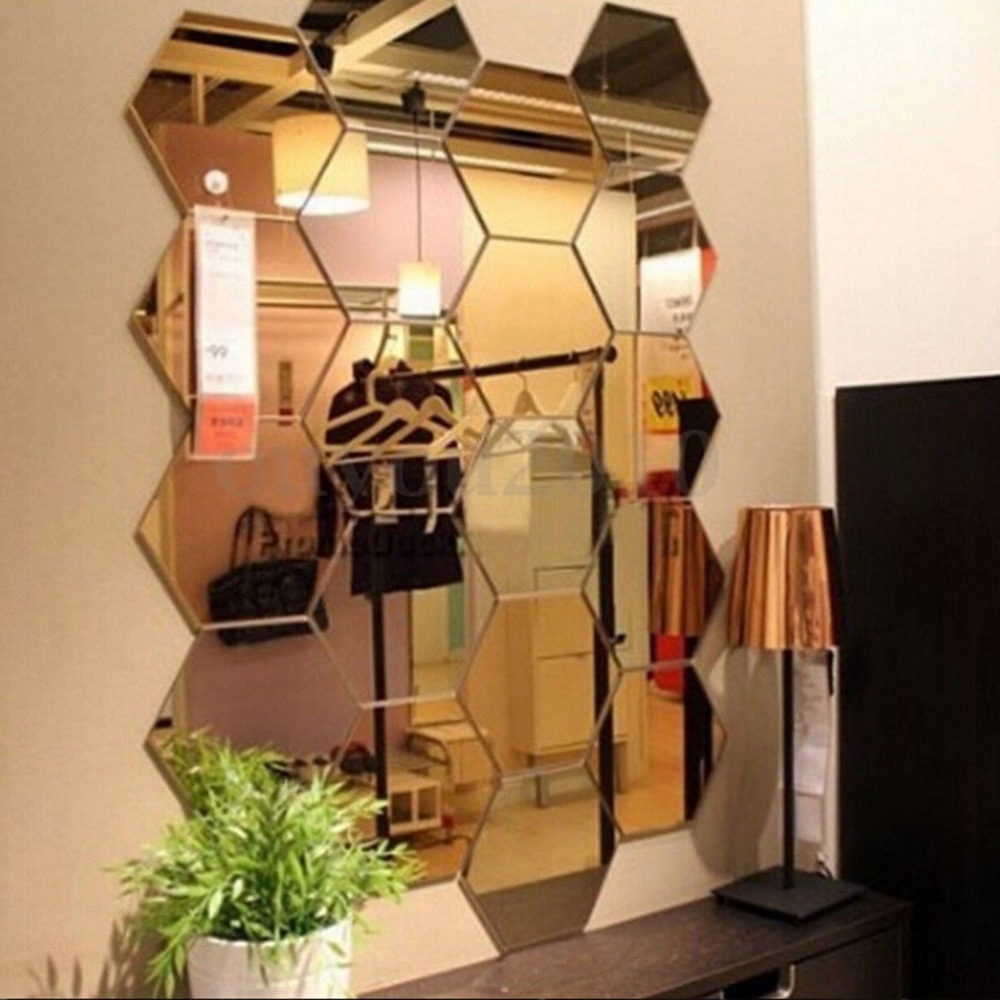 12pcs /set Hexagonal Mirror Wall Sticker DIY Brick Wall Stickers Living Room Decor Foam Waterproof Wall Covering Wallpaper