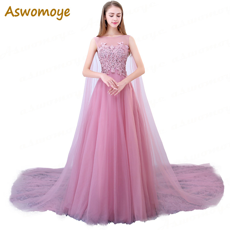 Elegant Appliques Beading   Evening     Dress   Long 2018 Party   Dress   Illusion O-Neck A-Line Prom   Dresses   Custom Size Robe De Soiree