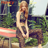 2018 New High Neck Bikini Women Long Pant Swimsuit Swimwear Cut Out Brazilian Bikini Set Print