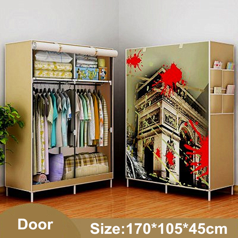 Wardrobe Storage Large capacity Simple Closet Double hanging assembly Cabinets Fold cloth furniture Reinforcement Stowed Clothes