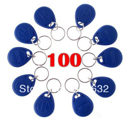 New 100Pcs Rfid 125Khz Proximity Rfid Id Card Key Tags (Keyfobs) usb 125khz em4100 rfid proximity reader 5 cards 5 key tags 5 dia card