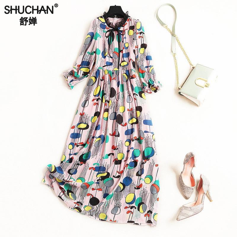 Shuchan mousseline de soie femmes longue robe imprimer trois quarts manches mi-mollet o-cou nouveaux arrivants 2019 robes femmes de haute qualité 10108