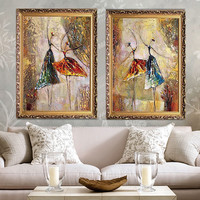 Hand Painted Retro Style Canvas Oil Paintings Ballet Dancers Wall Pictures For Living Room Cheap
