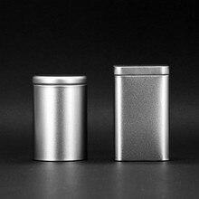 Круглые Квадратные Серебряные контейнеры для чая железная мини коробка для хранения конфет коробка для печенья с крышкой пустая Косметическая металлическая Оловянная коробка пищевые баночки 6 шт./партия