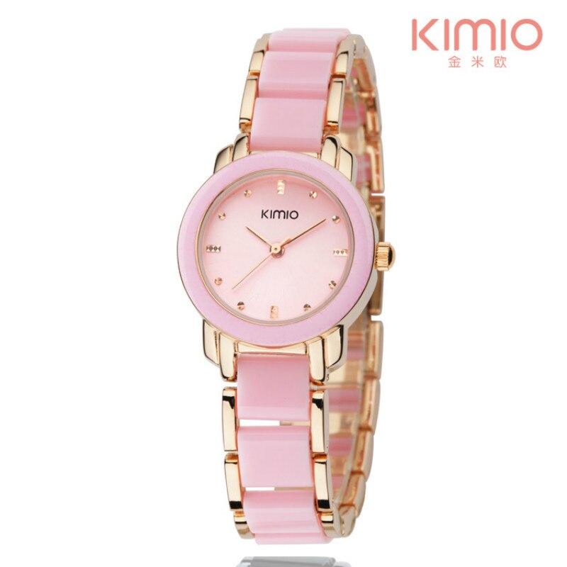 KIMIO Simple Bracelet Diamond Woman Watches Quartz Imitation Ceramic Watches 2018 Brand Female Clock Relogio Feminino with Box цена