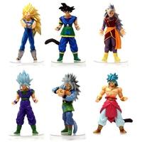 6pcs Set Dragon Ball Z Action Figures Vegeta Gohan Goku Broly 15cm PVC Action Figure Collectible