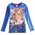 Una sola pieza del bebé boy t shirt boy ropa niños impreso tigor nova niños ropa niños manga larga t shirt enfant vetement A5788