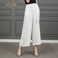 VOA белый широкие брюки женские офисные роскошные 100% шелк мотобрюки для женщин Palazzo mujer hosen damen свободные broeken Dames ремень K815