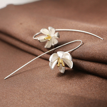 Silver Earring Fashion Water Lily 925 Sterling Silver Stud Earrings for Women Jewelry Wholesale Gift Hot Sell