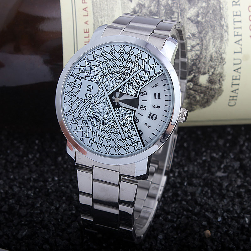 Fashion Unusual Turntable Dial Men's Silver Stainless Steel Band - Men's Watches