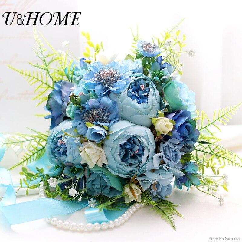 Artificial bride DIY <font><b>flowers</b></font> hand bouquet silk blue peony plastic rose high quality for home wedding marrige diy decoration bulk