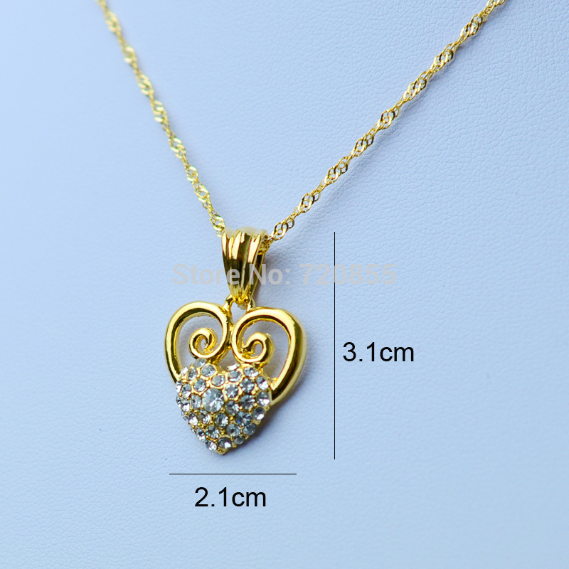 Anniyo Leart necklaces for women gold color rhinestone romantic ...