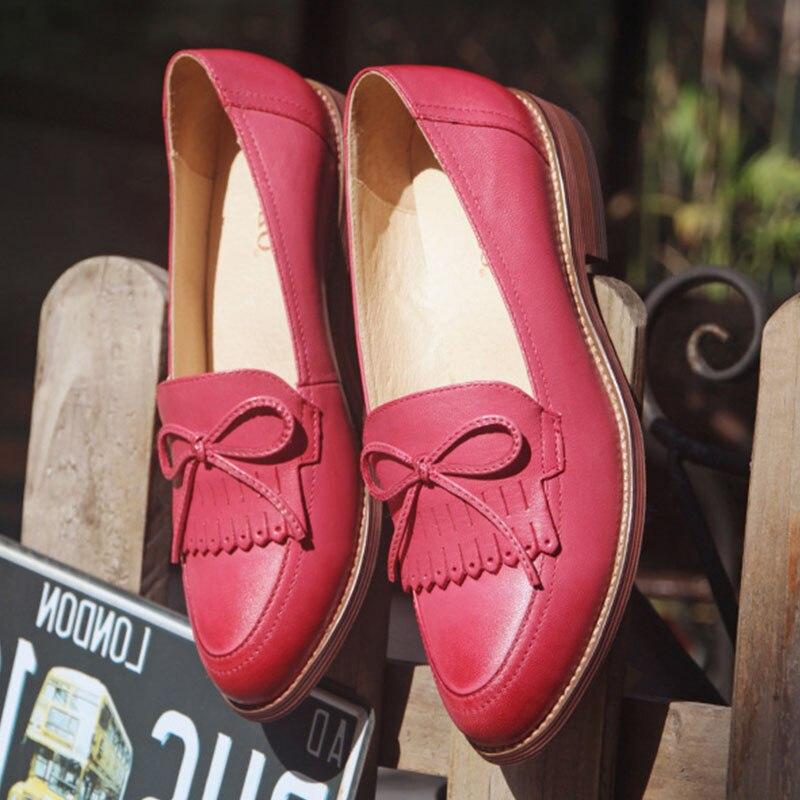 Ayakk.'ten Kadın Topuksuz Ayakkabı'de Kadın düz ayakkabı 2019 hakiki deri yuvarlak ayak flats platformu brogues bayanlar yaz kadın gladyatör düz lastik taban ayakkabı'da  Grup 1
