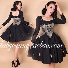 2015 New Autumn Elegant Vintage Palace Lace Slim Dress Black Ball Gown Black Vestidos  High Waist Full Party Women Clothes 0.7