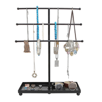 Hanger Iron Display Stand Necklace Holder Storage Racks Tray Pendant 3 Tier Decorative Earring Art Bracelet Organizer Tower Ring
