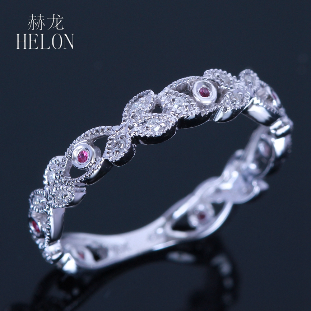 HELON Sterling silver 925 Natural Ruby & Diamonds Engagement Ring Women Wedding Anniversary Trendy Party Classic Jewelry Gift