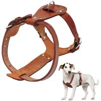 Genuine Leather Dog Harness Brown 16 30 Chest Adjustable Straps For Walking Training Medium Large Dogs