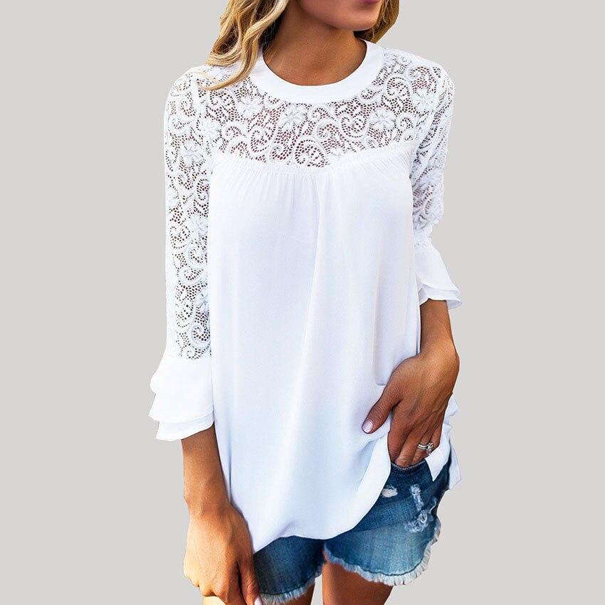 BOBOKATEER lace blouse womens tops and blouses chiffon long sleeve women shirt white top blusas mujer de moda 2018 chemise femme