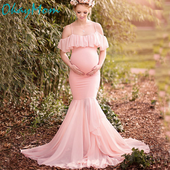 d63d30bdfb26 OkayMom vestidos de maternidad para sesiones fotográficas de embarazo Props  Sexy vino rojo trompeta vestido de fiesta para mujeres embarazadas 2019 >>  ...
