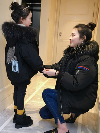 2018 family matching mother daughter coat kids family costumes little girls clothing black clothing with big fur collar hap2018 family matching mother daughter coat kids family costumes little girls clothing black clothing with big fur collar hap