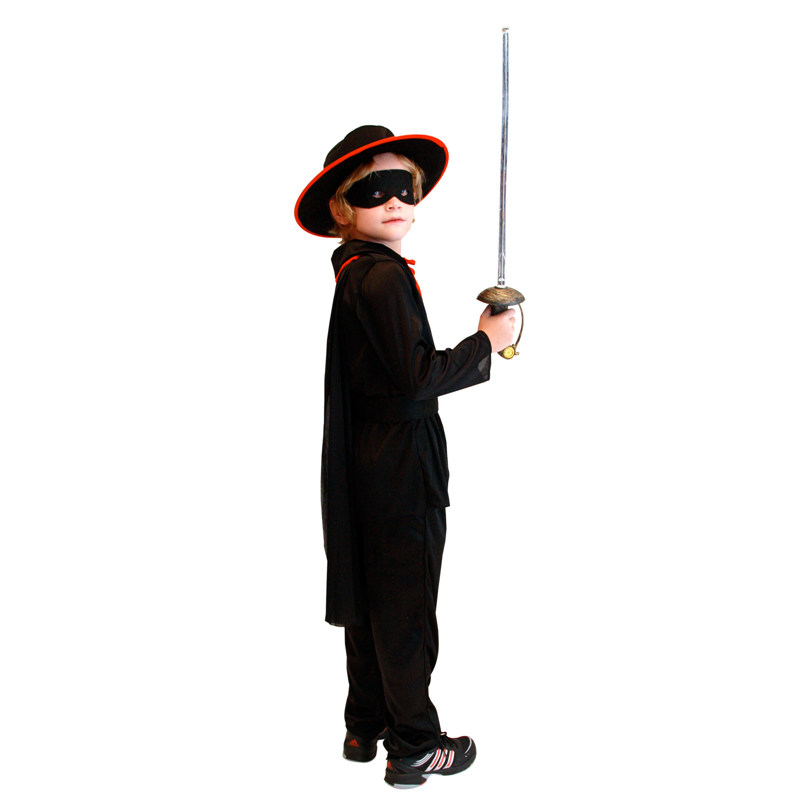 Kids Child Black Masked Bandido Zorro Costume for Boys Halloween Purim Carnival Masquerade Party Outfit in Boys Costumes from Novelty Special Use