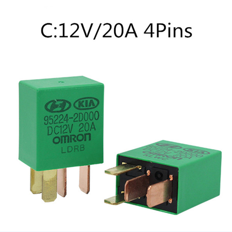 1pc Car Violet Relay For KIA 12V 20A OMRON 4 Pins Green Color Power Relay Assembly