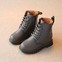 Autumn Winter Children S Shoes For Girls Rubber Boots PU Leather Martin Boot Girls Zip Waterproof