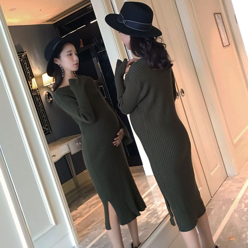 2018 Winter Autumn Maternity Dress Thickening Maternity Clothes For Pregnant Women Sweater Long-sleeved Spring Dresses Black Red