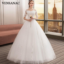 VENSANAC 2018 Crystal Sweetheart Sequined Ball Gown Wedding Dresses Lace Appliques Illusion Short Sleeve Bridal Gowns