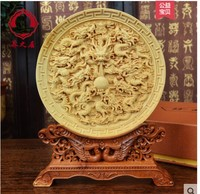 Round carved phoenix peony picture Dragon play pearl fig creative decoration Business home Boxwood carving vehicle wood statue