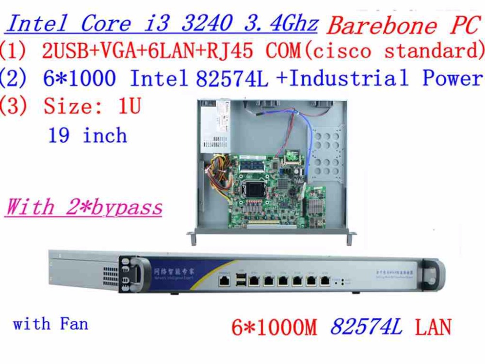 INTEL I3 3240 3.4Ghz 1U Rack Type Firewall Server With 6*1000M 82574L Gigabit LAN 2*bypass Support ROS/RouterOS Etc Barebone PC