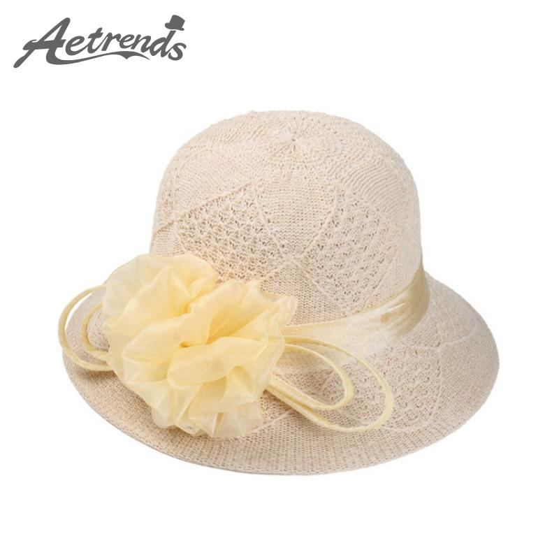 [AETRENDS] 2017 Fashion Fedoras Straw Hat Ladies Bucket Hats for Women Z-2942