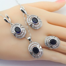 Blue Stones White CZ Silver Color Jewelry Sets For Women Christmas Pendant/Necklace/Earrings/Rings Free Gift Box