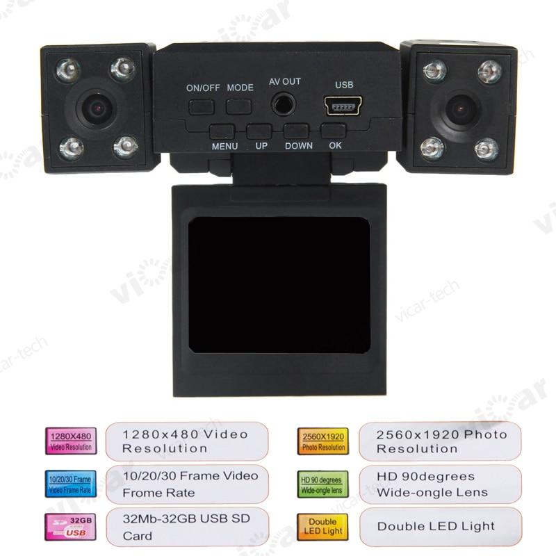 H3000 Dual Lens Car DVR 2 0 inch font b TFT b font font b LCD