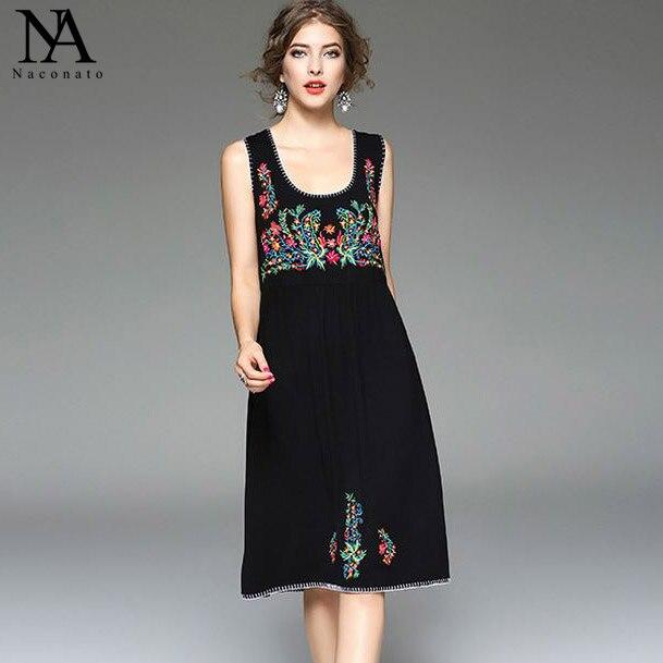 Nouvelle Arrivée 2018 Femmes de Scoop Décolleté Emboridery Sans Manches High Street Fashion Casual Little Black Robes de Coton