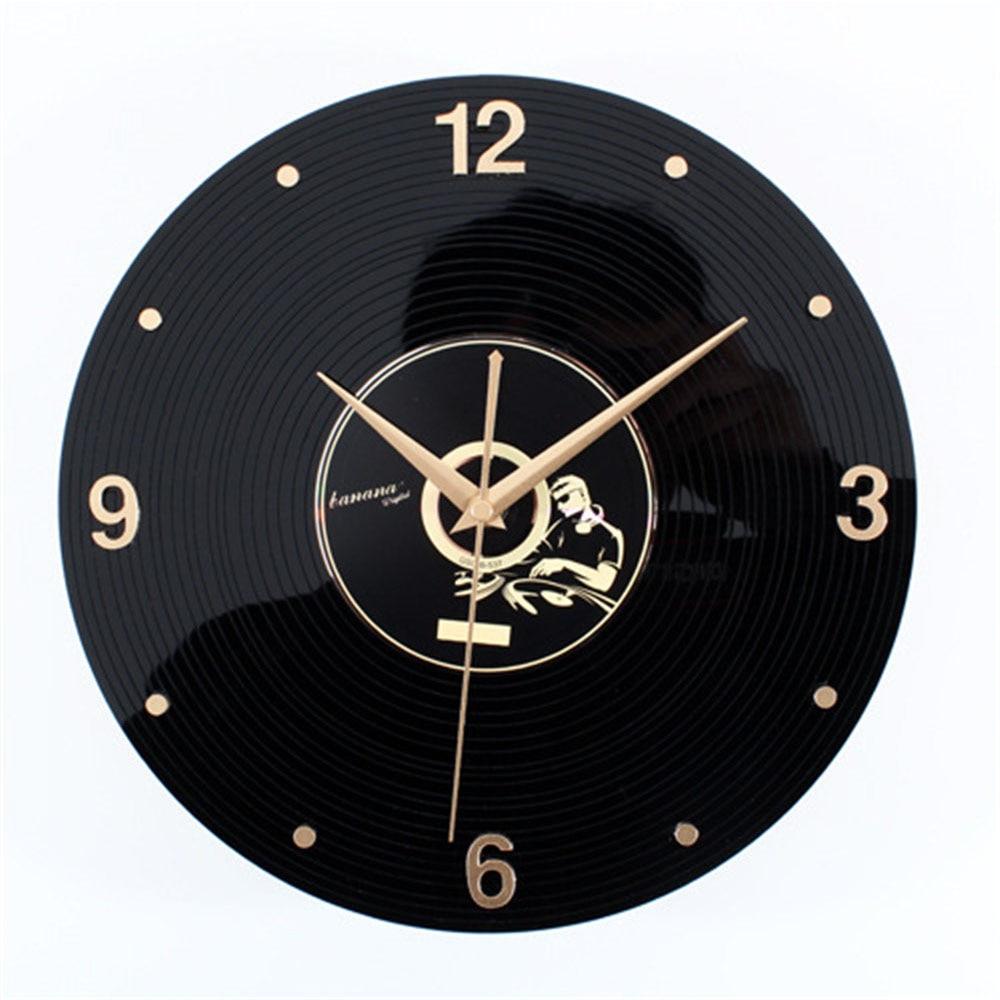 Music <font><b>Disc</b></font> Record <font><b>Wall</b></font> Clock Unique 3D Vintage Retro Art Design Stereoscoptic Needle <font><b>Wall</b></font> Clocks For Living Room Home Decoration