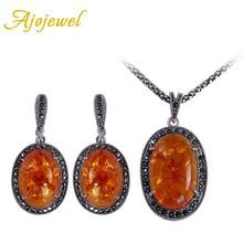 Ajojewel faux de la manera de piedra de la joyería para las mujeres conjuntos de joyeria vintage mujer pendientes del collar plateado plata